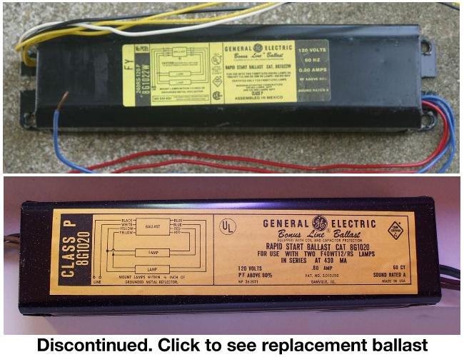 GE 8G1022W Replacement Ballasts   Ge F40t12 Ballast Wiring Diagram      BallastShop.com